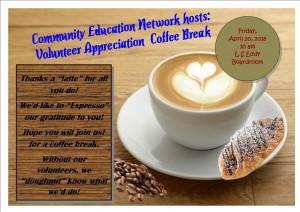 2018 Volunteer Appreciation week coffee break invite